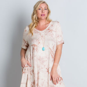 Dresses & Skirts - Light Pink Tie-Dye Plus Size Dress with Pockets